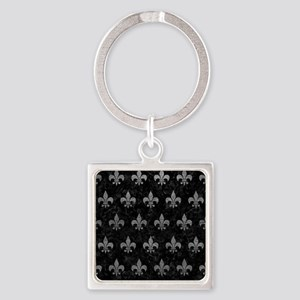 ROYAL1 BLACK MARBLE & GRAY LEATHER Square Keychain