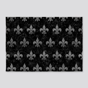 ROYAL1 BLACK MARBLE & GRAY LEATHER 5'x7'Area Rug