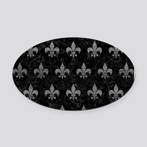ROYAL1 BLACK MARBLE & GRAY LEATHER Oval Car Magnet