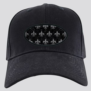 ROYAL1 BLACK MARBLE & GRAY LE Black Cap with Patch