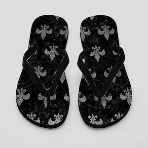 ROYAL1 BLACK MARBLE & GRAY LEATHER (R) Flip Flops