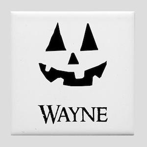 Wayne Halloween Pumpkin face Tile Coaster