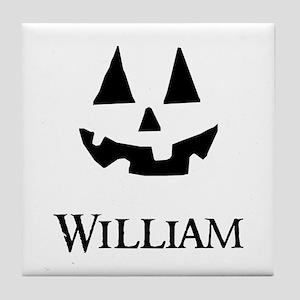 William Halloween Pumpkin face Tile Coaster