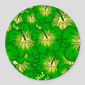 Green hibiscus Round Car Magnet