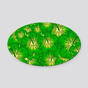Green hibiscus Oval Car Magnet