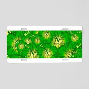 Green hibiscus Aluminum License Plate