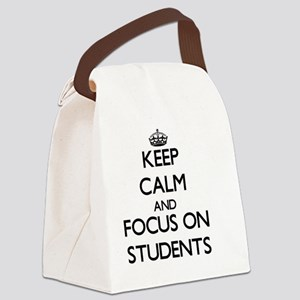 Keep Calm and focus on Students Canvas Lunch Bag