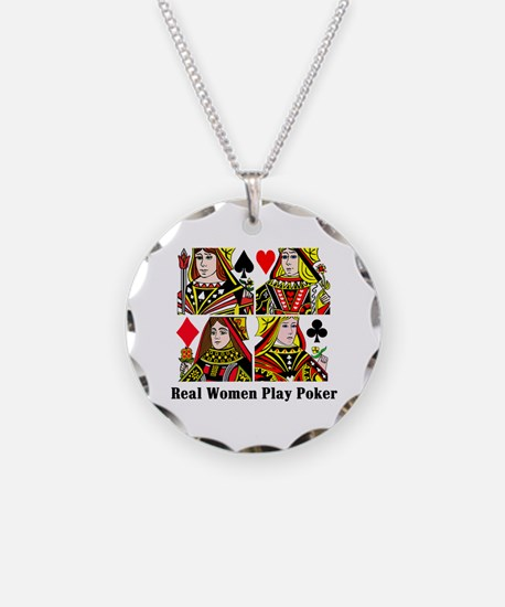 Real Women Play Poker Necklace Circle Charm