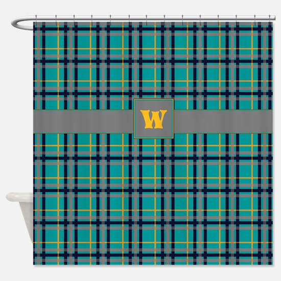 Blue and Orange Plaid Shower Curtain