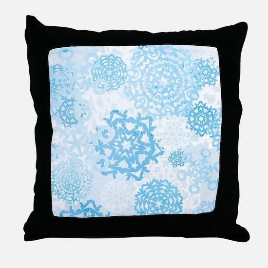 Grunge Snowflakes Throw Pillow