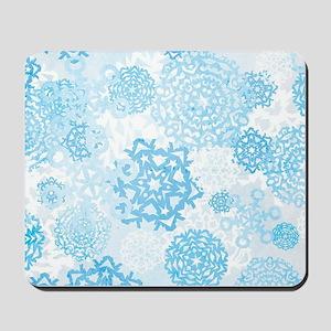 Grunge Snowflakes Mousepad