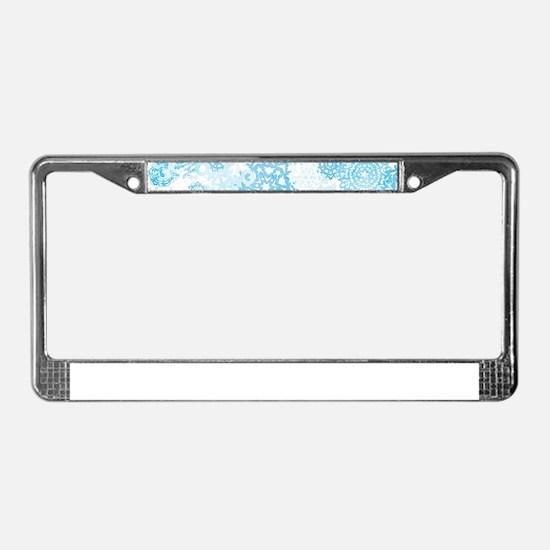 Grunge Snowflakes License Plate Frame