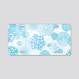 Grunge Snowflakes Aluminum License Plate