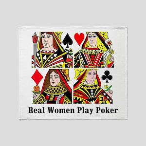 Real Women Play Poker Throw Blanket