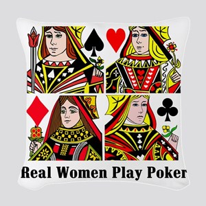 Real Women Play Poker Woven Throw Pillow
