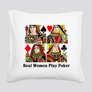 Real Women Play Poker Square Canvas Pillow