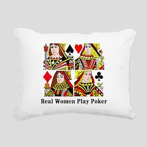 Real Women Play Poker Rectangular Canvas Pillow