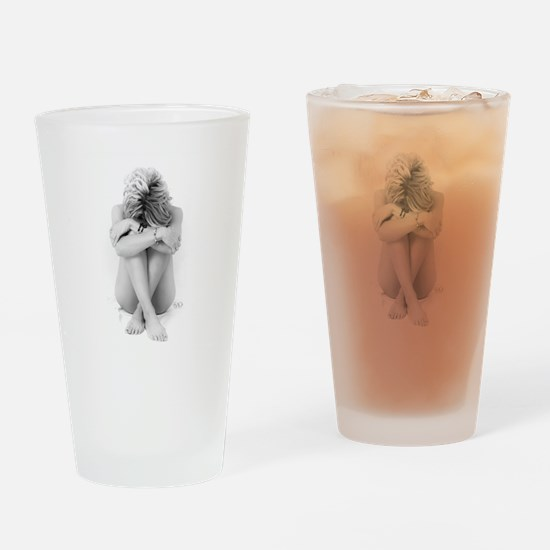 Blonde Nude On White Drinking Glass