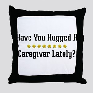 Hugged Caregiver Throw Pillow