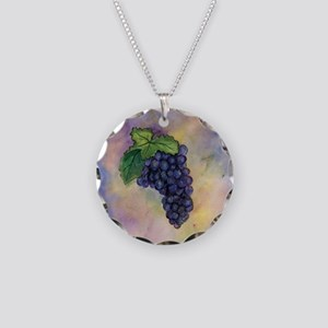Red Wine Grapes Necklace Circle Charm