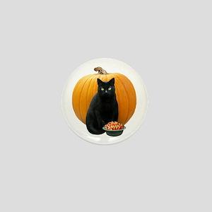 Black Cat Pumpkin Mini Button
