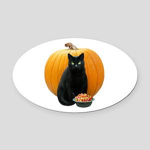 Black Cat Pumpkin Oval Car Magnet