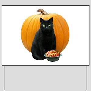 Black Cat Pumpkin Yard Sign