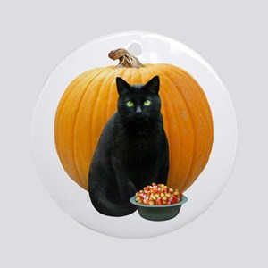 Black Cat Pumpkin Ornament (Round)