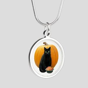 Black Cat Pumpkin Silver Round Necklace