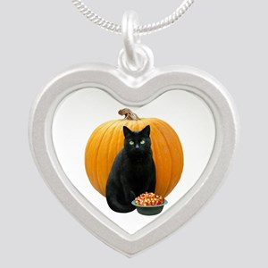 Black Cat Pumpkin Silver Heart Necklace