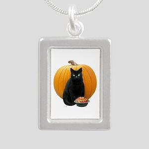 Black Cat Pumpkin Silver Portrait Necklace