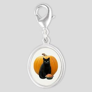 Black Cat Pumpkin Silver Oval Charm