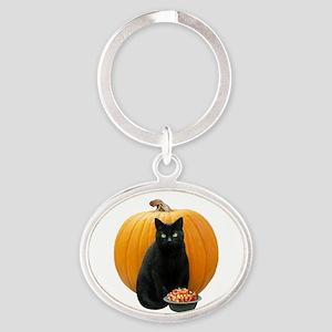 Black Cat Pumpkin Oval Keychain