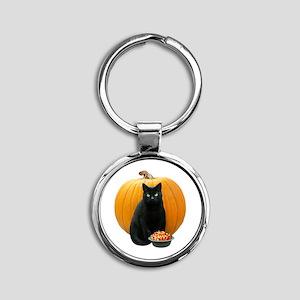 Black Cat Pumpkin Round Keychain