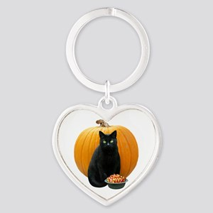 Black Cat Pumpkin Heart Keychain