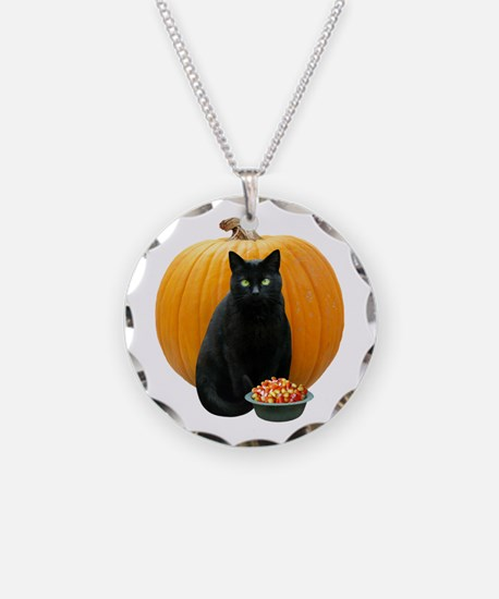 Black Cat Pumpkin Necklace