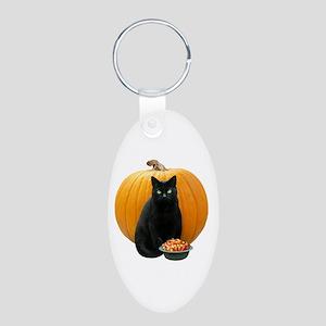 Black Cat Pumpkin Aluminum Oval Keychain