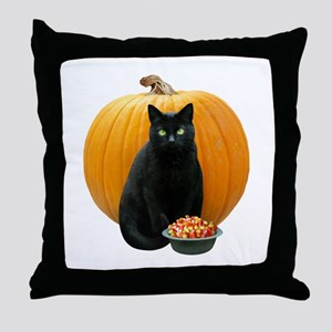 Black Cat Pumpkin Throw Pillow