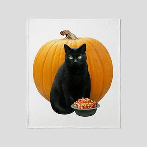 Black Cat Pumpkin Throw Blanket