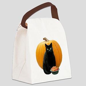 Black Cat Pumpkin Canvas Lunch Bag
