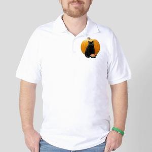 Black Cat Pumpkin Golf Shirt
