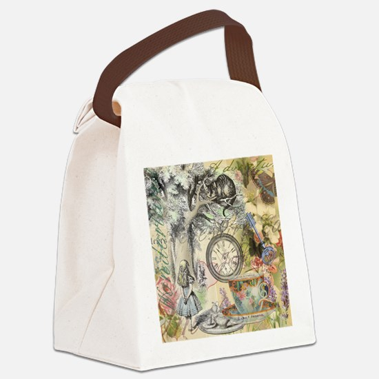 Cheshire Cat Alice in Wonderland Canvas Lunch Bag
