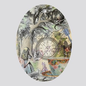 Cheshire Cat Alice in Wonderland Ornament (Oval)