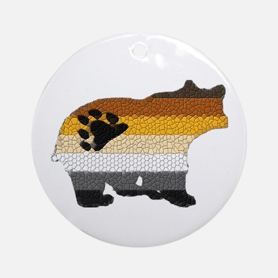 PRIDE BEAR W/MOSAIC STRIPES Ornament (Round)