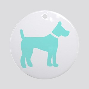 dog lt blue 2 Ornament (Round)