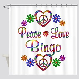 Peace Love Bingo Shower Curtain