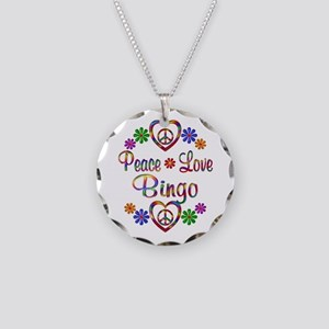Peace Love Bingo Necklace Circle Charm