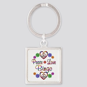 Peace Love Bingo Square Keychain