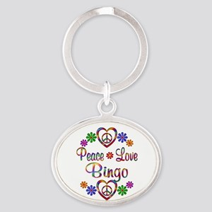 Peace Love Bingo Oval Keychain