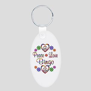 Peace Love Bingo Aluminum Oval Keychain